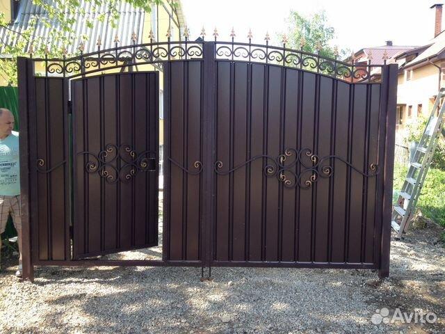 фото ворота с встроенной калиткой