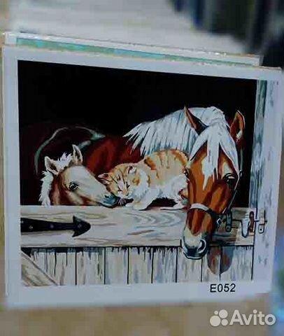 картина раскраска лошадь е052