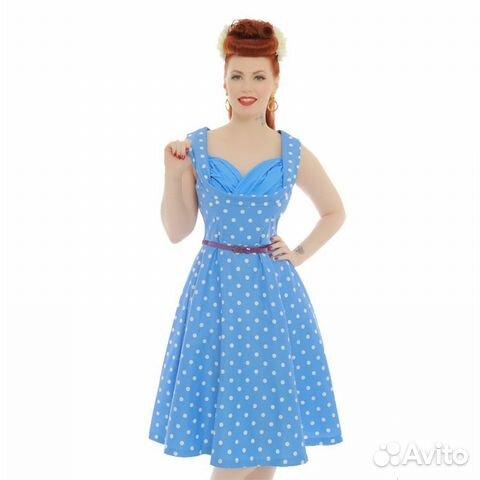 789e3779681 Ретро платье с пышной юбкой в горошек