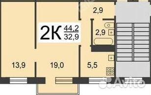 Продается двухкомнатная квартира за 2 800 000 рублей. Нижний Новгород, проспект Ленина, 65к1.