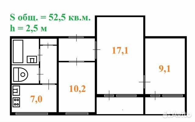 3-к квартира, 53 м², 5/9 эт. 89113107551 купить 7