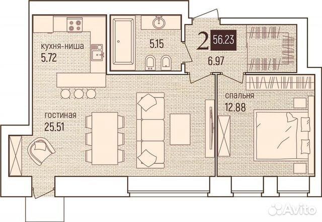2-к квартира, 56.2 м², 7/7 эт.