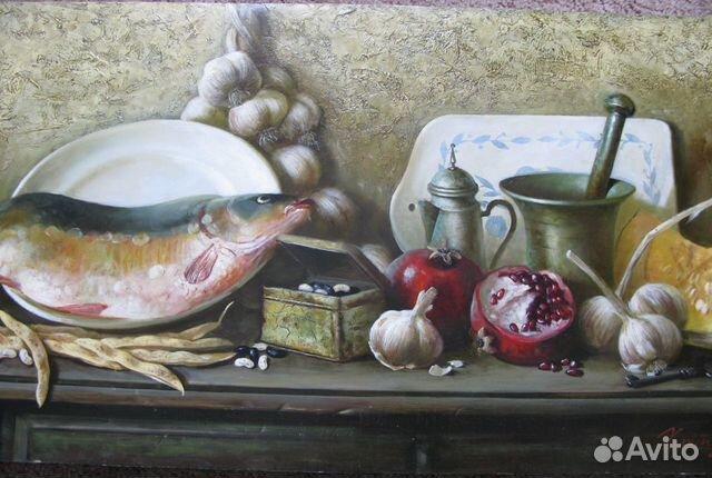 Картина Хрипунова Ю.Ф., Натюрморт с рыбой