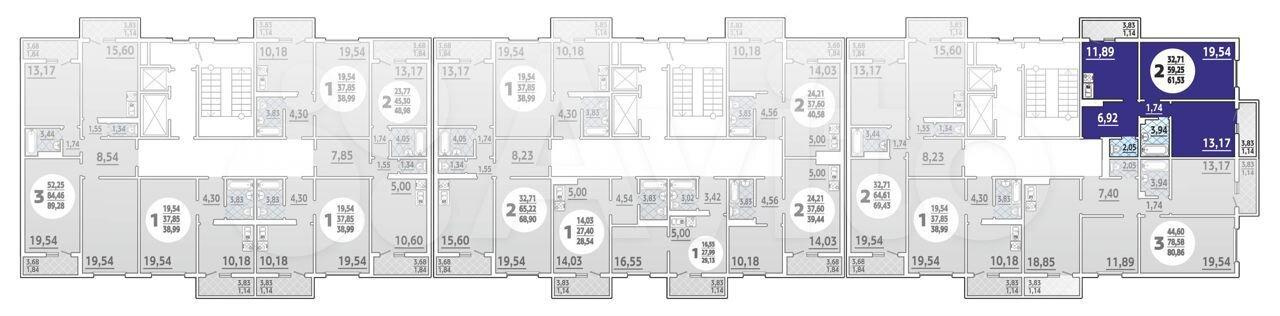 2-к квартира, 61.5 м², 1/16 эт.  88613255629 купить 1